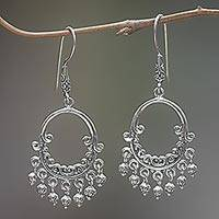 Sterling silver chandelier earrings, 'Catching Dreams' - Sterling Silver Dream Catcher Earrings Handmade in Indonesia
