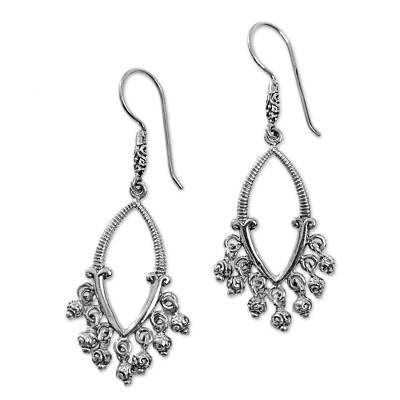 Sterling silver chandelier earrings, 'Fruiting Beauty' - Sterling Silver Spiral Earrings Handmade in Indonesia