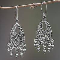 Sterling silver dangle earrings, 'Hidden Hearts' - Sterling Silver Heart Earrings Handmade in Indonesia