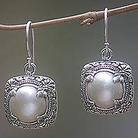 Cultured pearl dangle earrings, 'Moon Holder' - Cultured Pearl Sterling Silver Earrings from Indonesia
