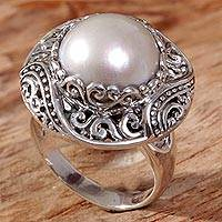 Cultured mabe pearl cocktail ring, 'Tedung Bali' - Cultured Mabe Pearl Ring Hand Crafted in Indonesia
