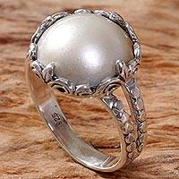 Cultured mabe pearl cocktail ring, 'Queen of the Moon' - Cultured Mabe Pearl Ring Hand Crafted in Indonesia