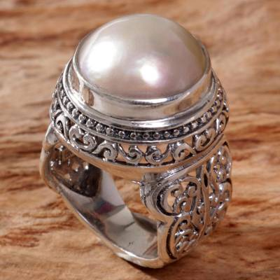 Cultured mabe pearl cocktail ring, 'Royal Dome' - Cultured Mabe Pearl Ring Hand Crafted in Indonesia