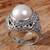 Cultured mabe pearl cocktail ring, 'Magical White' - Cultured Mabe Pearl Ring Hand Crafted in Indonesia (image 2b) thumbail