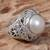 Cultured mabe pearl cocktail ring, 'Magical White' - Cultured Mabe Pearl Ring Hand Crafted in Indonesia (image 2c) thumbail