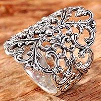 Sterling silver cocktail ring, 'Heart and Blossom' - Sterling Silver Heart and Flower Ring Hand Crafted Indonesia