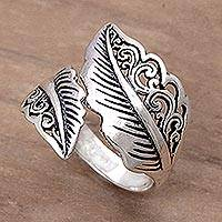 Sterling silver wrap ring, 'Magic Leaf' - Sterling Silver Leaf Wrap Ring Made in Indonesia