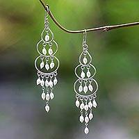 Cultured pearl chandelier earrings, 'Moonlit Orbs' - Sterling Silver Cultured Pearl Chandelier Earrings Indonesia