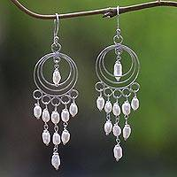 Cultured pearl chandelier earrings, 'Moonlit Circles' - Sterling Silver and Cultured Pearl Chandelier Earrings