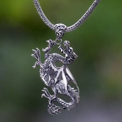Sterling silver pendant necklace, 'Dragon Rage' - Handmade Indonesian Sterling Silver Pendant Dragon Necklace