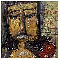 'Crying Eve' - Crying Eve and the Apple Original Signed Painting from Java