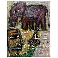 'Don't Kill the Elephant' - Save the Elephants Signed Painting from Java Modern Art