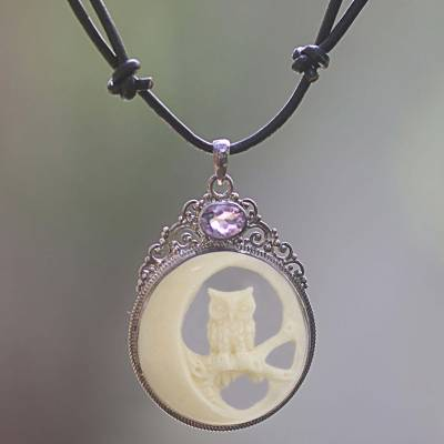 Amethyst and bone pendant necklace, 'Nighttime Owl' - Bone Sterling Silver Amethyst Pendant Necklace Indonesia