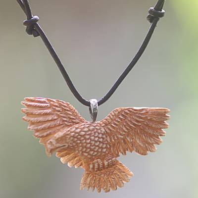 Bone pendant necklace, 'Stoic Eagle' - Hand Made Bone Pendant Necklace Eagle from Indonesia