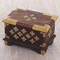 Wood and recycled aluminum decorative box, 'Lombok Majesty' - Hand Made Wood and Aluminum Decorative Box from Indonesia