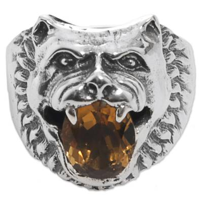Sterling Silver Citrine Cocktail Ring Wolf Face Indonesia