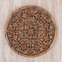 Wood wall relief panel, 'Jepun Garden' - Hand Carved Wood Wall Relief Floral Motif from Indonesia