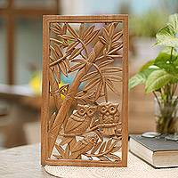 Wood relief panel, 'Owl Family' - Handmade Suar Wood Owl Family Wall Panel from Indonesia