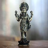 Bronze statuette, 'Elegant Lakshmi' - Bronze Sculpture of Hindu Goddess Lakshmi Indonesia