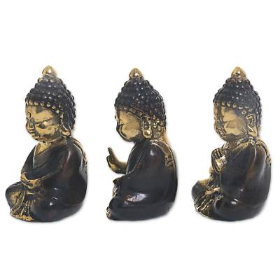 Bronze figurines, 'Meditating Baby Buddhas' (set of 3) - Gold Colored Bronze Sculptures Buddha (Set of 3) Indonesia