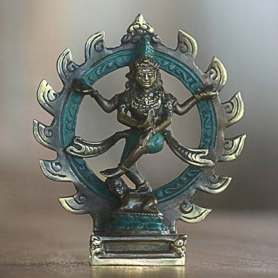 Bronze sculpture, 'Shiva Nataraja' - Bronze Sculpture of Hindu God Shiva Green from Indonesia