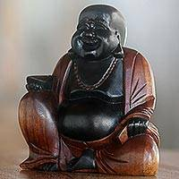 Wood sculpture, 'Joyful Buddha' - Hand Carved Buddha Suar Wood Sculpture Black and Brown
