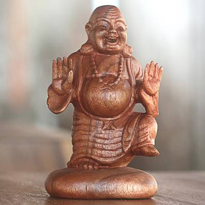 Wood statuette, 'Jubilant Buddha' - Hand Carved Suar Wood Laughing Buddha Statuette