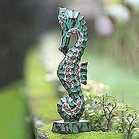 Wood sculpture, 'Calming Seahorse' - Hand Carved Wooden Statuette of Seahorse from Indonesia