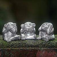 Bronze figurines, 'Monkeys of Wisdom' (set of 3) - Silver Colored Bronze Monkey Figurines (Set of 3) Indonesia