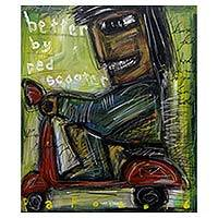 'Better by Red Scooter' - Java Artist Self Portrait on Red Scooter Signed Painting