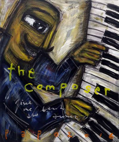 'The Composer' - Music Man on the Piano Caricature Style Signed Painting