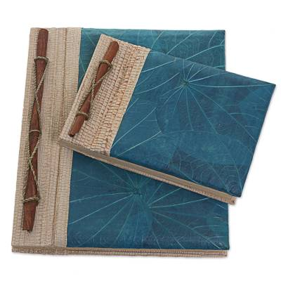 Natural fiber notebooks, 'Autumn Spirit in Blue' (pair) - Handcrafted Pair of Rice Paper Notebooks from Indonesia