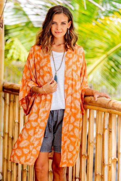 Rayon robe, 'Windy Beach in Orange' - Balinese Rayon Print Robe in Ivory and Orange