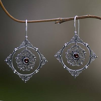 Garnet dangle earrings, 'Red Vibrations' - Hand Made Sterling Silver Garnet Dangle Earrings Indonesia