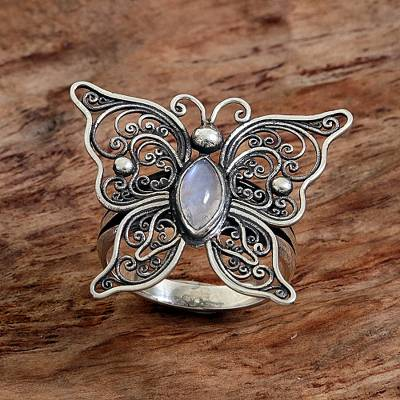 Rainbow Moonstone Butterfly Cocktail Ring from Indonesia