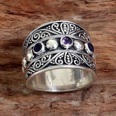 Hand Made Sterling Silver Amethyst Band Ring Indonesia
