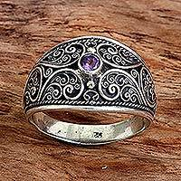 Amethyst band ring, 'Purple Swirls' - Sterling Silver and Amethyst Band Ring from Indonesia