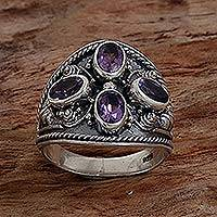 Amethyst multi-stone ring, 'Purple Crest' - Hand Made Sterling Silver Amethyst Multistone Ring Indonesia