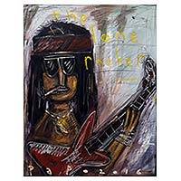 'The Lone Rocker' - Cartoon Style Lone Rockstar Signed Painting from Java