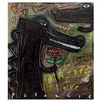 'Alligator in Love' - Alligators in Love Signed Cartoon Style Painting from Java
