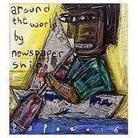 'Around the World by Newspaper Ship' - Around the World on a Paper Boat Painting Signed by Artist