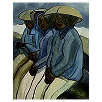 'Mountain Farmers' - Javanese Fine Art Original Signed Oil Painting