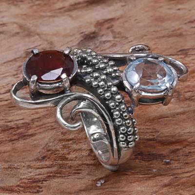 Garnet and blue topaz cocktail ring, Magical Union