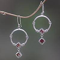 Garnet dangle earrings, 'Rings of Happiness in Red' - Sterling Silver and Garnet Dangle Earrings from Indonesia