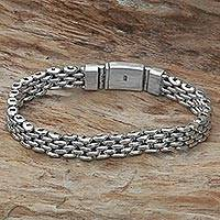 Sterling silver wristband bracelet, 'Sterling Solidarity' - Hand Made Sterling Silver Wristband Bracelet from Indonesia