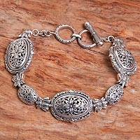 Sterling silver link bracelet, 'Lotus Chain' - Sterling Silver Link Bracelet with Floral Motif
