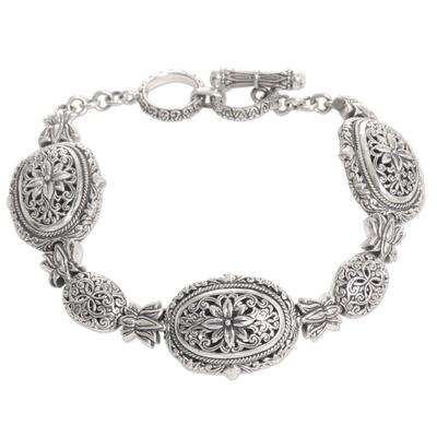 Sterling Silver Link Bracelet with Floral Motif