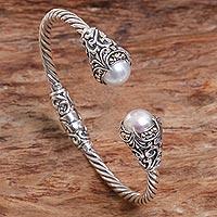 Cold accented cultured pearl cuff bracelet,