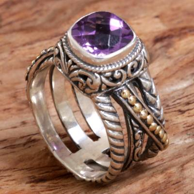 silver ring low price laptops - Gold Accented Sterling Silver and Amethyst Cocktail Ring