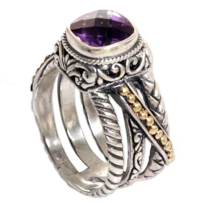 Gold Accented Sterling Silver and Amethyst Cocktail Ring